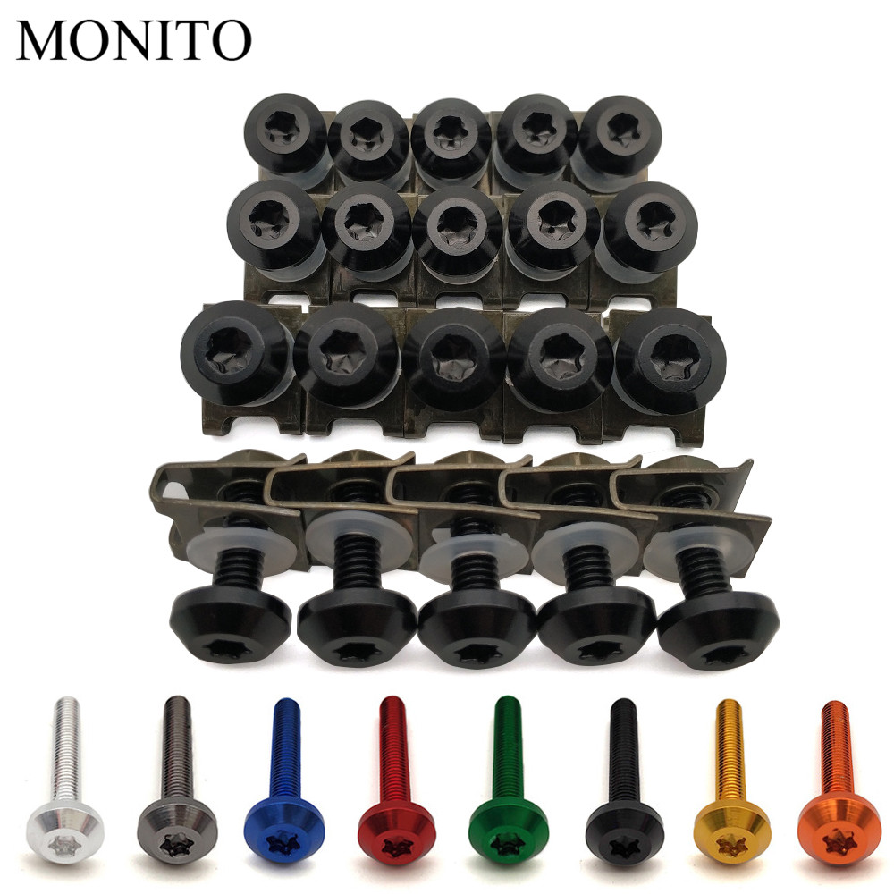 20pcs For <font><b>Suzuki</b></font> GSX650F HAYABUSA GSXR1300 <font><b>SV1000</b></font> TL1000 GSR600 Motorcycle Custom Fairing Body Bolt Screw Spring Bolts Nuts M6 image