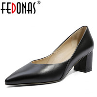 FEDONAS Fashion Women Pumps Pointed Toe Ladies Natural Genuine Leather Shoes Elegant Shallow High Heels Shoes