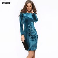 Elegant Simple Design Brief Spring Summer Women Dress Bright Color Long Sleeve Velvet Sexy Sheath Bodycon