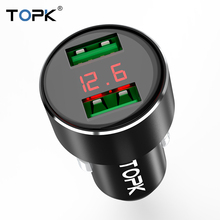 TOPK Dual USB Car Charger Digital Display for iPhone X XR Xs Samsung Xiaomi Huawei 2 Port USB Car Phone Charger Adapter in Car universal car phone charger 2 port mini dual usb phone charger adapter smart display for iphone for samsung tablet pc cellphone