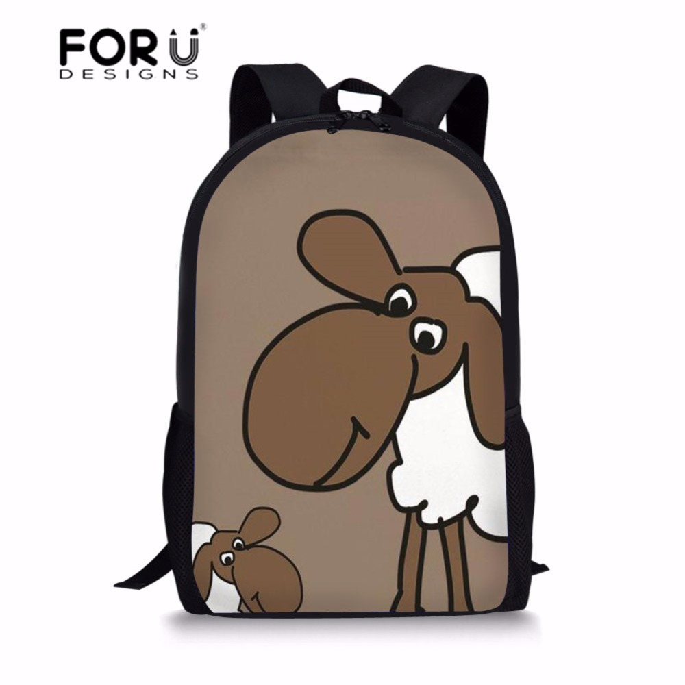 FORUDESIGNS Middle School Students School Bags for Teenager Sheep Printing School Backpack for Girls Casual Shoulder Bagpack