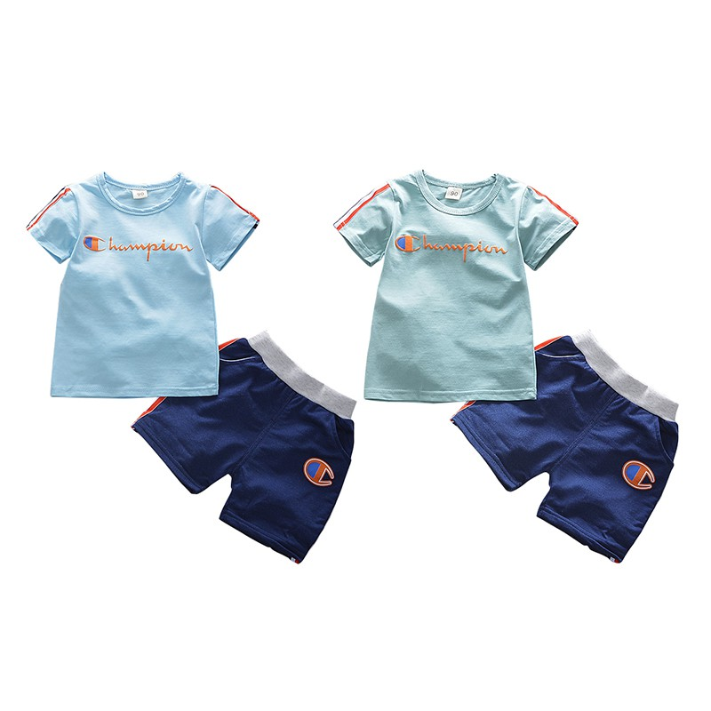 2018 Casual Kid Clothes Set Letter Print T-shirt+Solid Short Two Pieces Baby Sets Summer Comfortable For Dressing H1