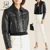 Autumn winter leather jacket women's coat sheepskin genuine leather motorcycle female black ruffles sexy OL Slim short jackets