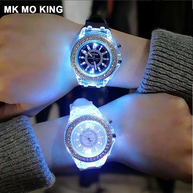 Couples Watch Harajuku Style Silicone Transparent Shell Diamonds Men's / Women's Quartz Bracelet Bracelet Clock Dw Sevgili Saati