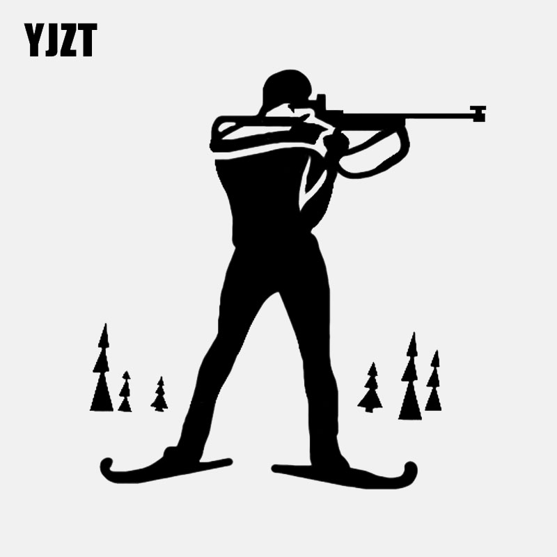 YJZT 12.2*13CM Biathlon Cross Country Ski Race Rifle Sports Decor Car Sticker Graphic Vinyl Silhouette C12-1544