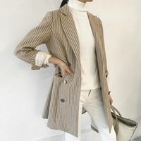 Plaid retro small West slim body coat jacket long section 2018 wool Blazers autumn Korean casual suit