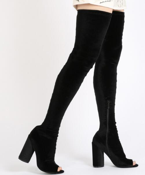 2017 hot selling black stretch fabric over the knee boots sexy open toe thick heels boots for woman fashion thigh high boots black stretch fabric suede over the knee open toe knit boots cut out heel thigh high boots in beige knit elastic sock long boots