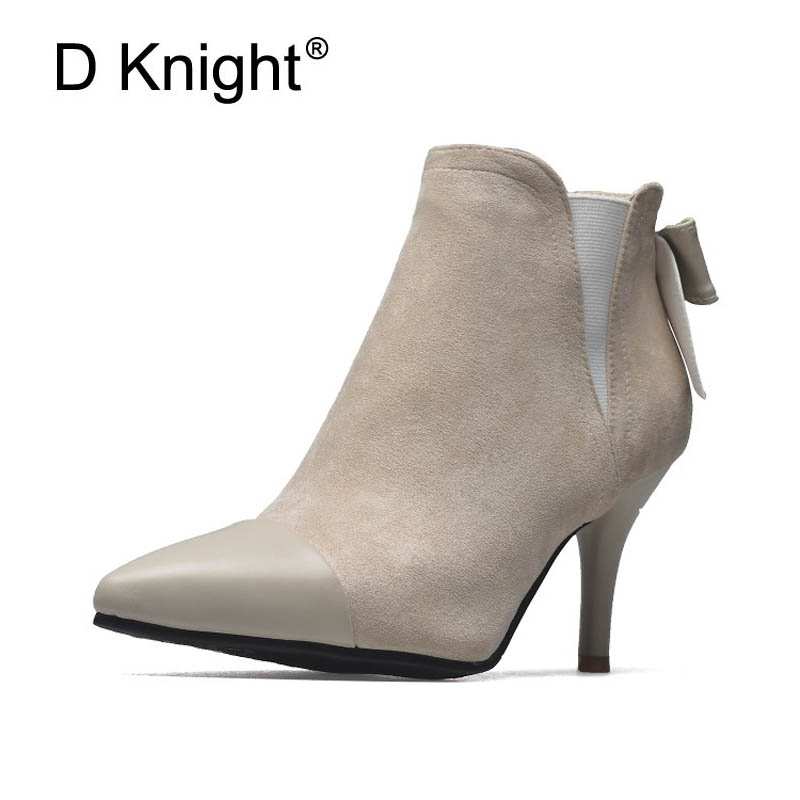 Sexy Winter Warm Ankle Boots Women Pointed Toe Pumps Shoes Butterfly-knot Chelsea Boots Shoes Thin High Heels Boot Shoes Woman