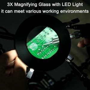 Image 4 - Newacalox溶接ステーション 3X usb led拡大鏡pcbはんだごてホルダーツールワークショップ第三手 6pc柔軟な腕