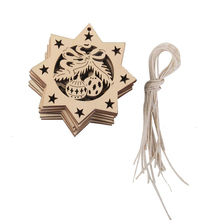 10pcs Wooden Embellishments with String Christmas Decoration Octagon Bells