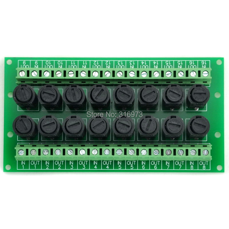 16 Channel Fuse Board, for 5x20mm Tube Fuses.