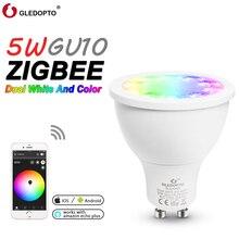 soposh dual white and color  LED  spotlight GU10  RGBW/CW  5W ZGBEE ZLL AC100-240V work with amazon echo plus LED BULB cct gu10
