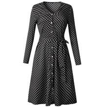 цены на Polka Dot Long Sleeve Dress Women V Neck Bow Belt Bohemian Beach Dress Autumn Winter 2018 Fashion Vintage Red Ladies Dresses в интернет-магазинах