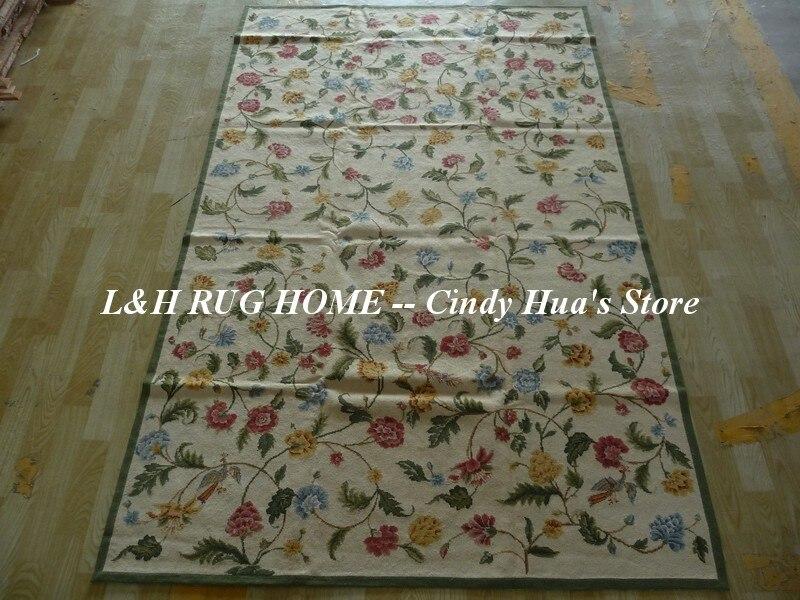 Spedizione gratuita 5'x8 'Tappeti di lana agugliati Disegno floreale - Tessili per la casa