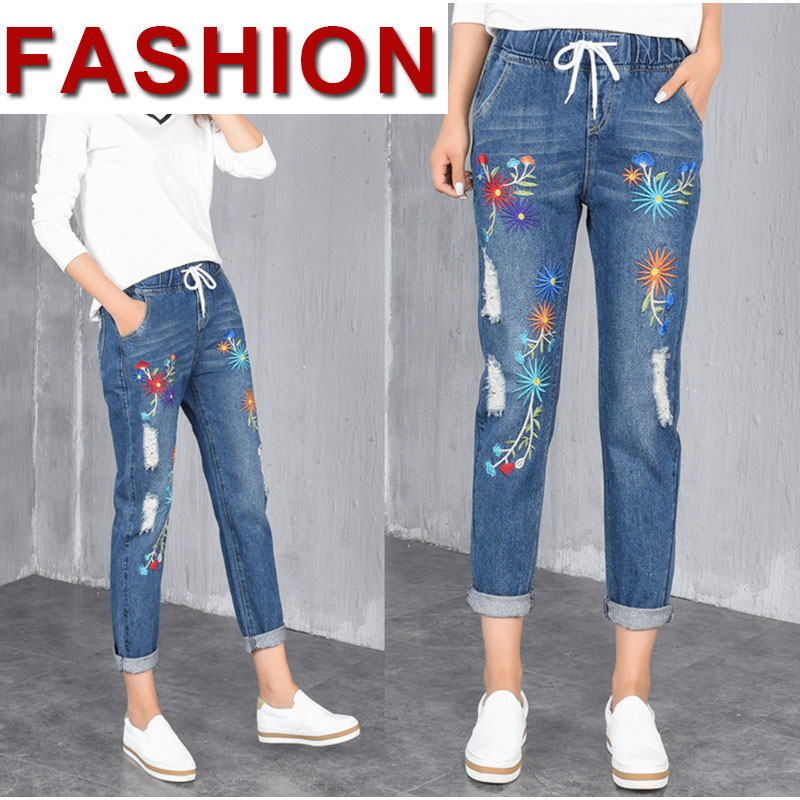 11e4b0e40ca Plus Size Embroidery Hole Elastic Waist Loose Harem Jeans Oversized Ankle  Length Women Denim Pants 4Xl 5Xl Xs 6Xl-in Jeans from Women s Clothing on  ...