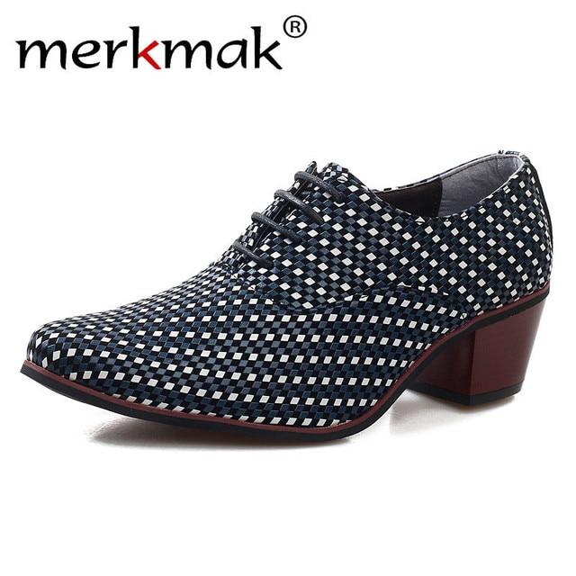 fe1ea2d2fe Merkmak Tecer O Aumento Da Altura Dos Homens Aumentou Sapatos de Couro Novo  Homem de Negócios