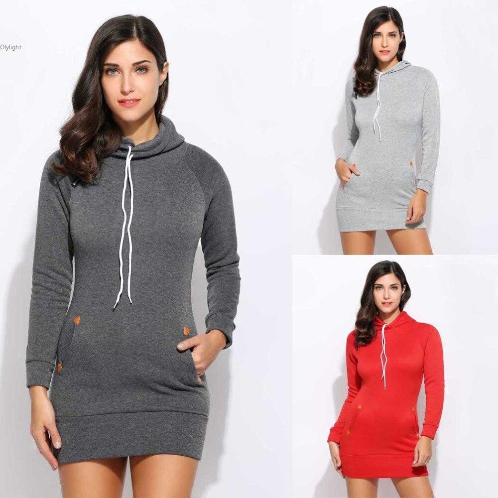 New Hooded Hoodies Pullover Women solid Hoodies Sweatshirts Female Hooded Jumper dress Zipper Pocket Tracksuit Tops Jacket