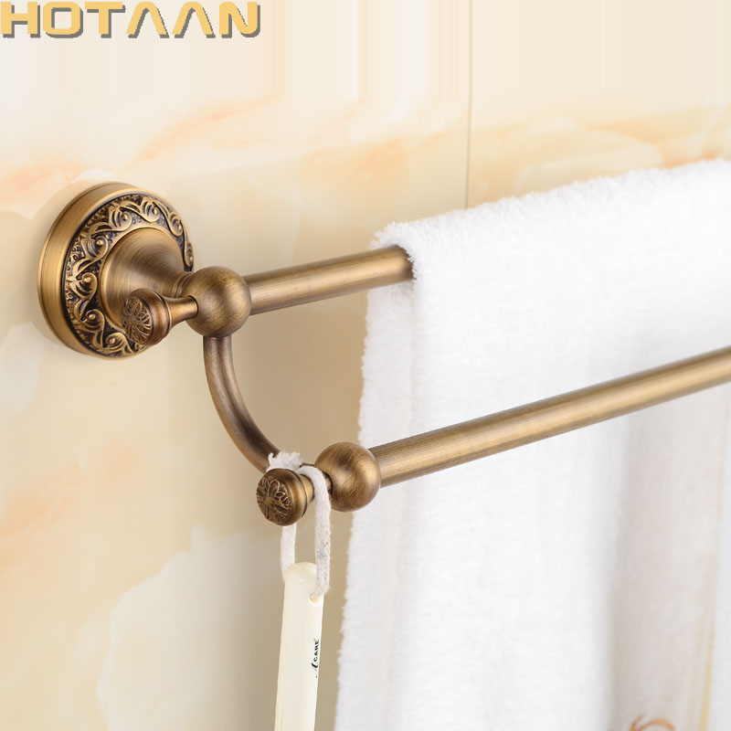 62cm Double Towel Bar With carved flower Antique Bronze Finish/Towel Holder,Towel Rack,Bathroom Accessories Free Shipping 12698