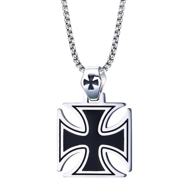 36MM Stainless Steel Black Enamel maltese cross Temple Templar Knights Cross Pendant Necklace for Men Crusader Paladin