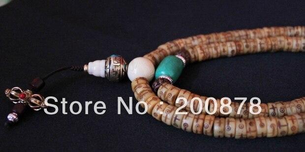 BRO979 perles de prière tibétaines en os de Yak sculpté étoile de soleil lune Totems Mala avec coquille de conque Turquoises 8X4mm livraison gratuite