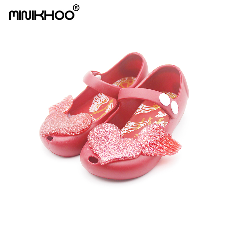 Mini Melissa 2018 Summer Girl Sandals Princess Shoes Non-slip Melissa Love Wings Melissa Plastic Mini Melissa Jelly Sandals