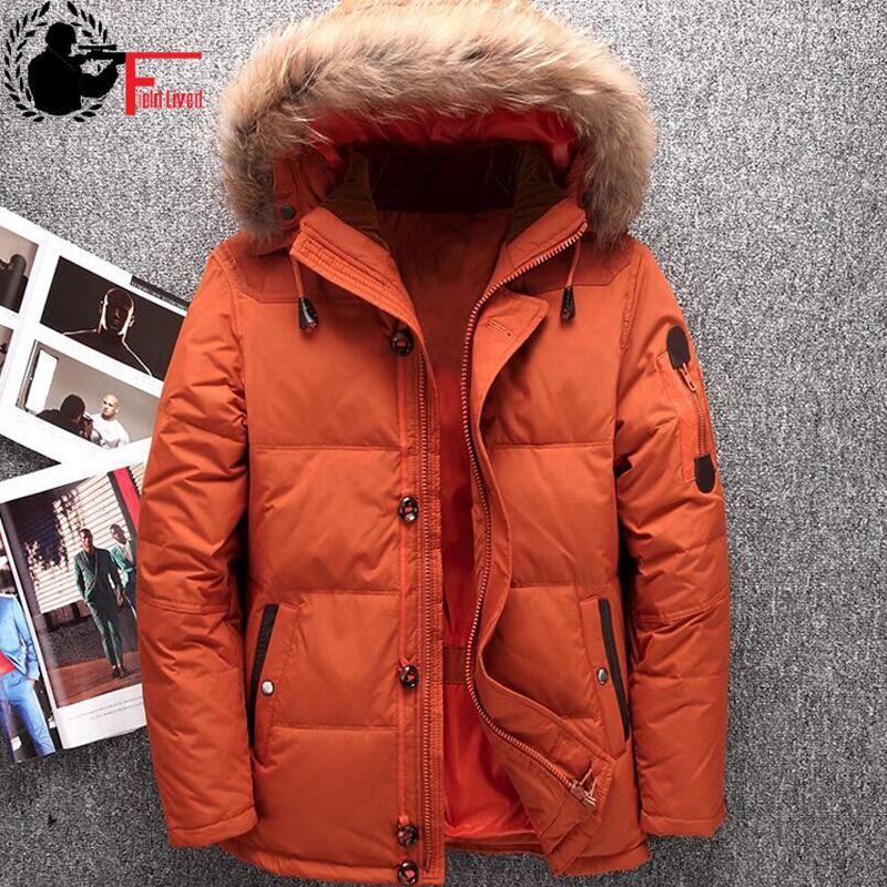 Зимние Натуральный мех капюшон Белые куртки-пуховики Для мужчин теплые высокое качество Теплый пуховик Пальто для будущих мам мужской Повседневное с капюшоном outerwer Парка на пуху