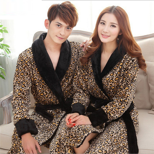 Leopard Print Flannel Lovers Bathrobes Robe Male Women Night Gown Thicken  Coral Fleece Pajamas Sleepwear Lounge Kimono Feminino 19488e442