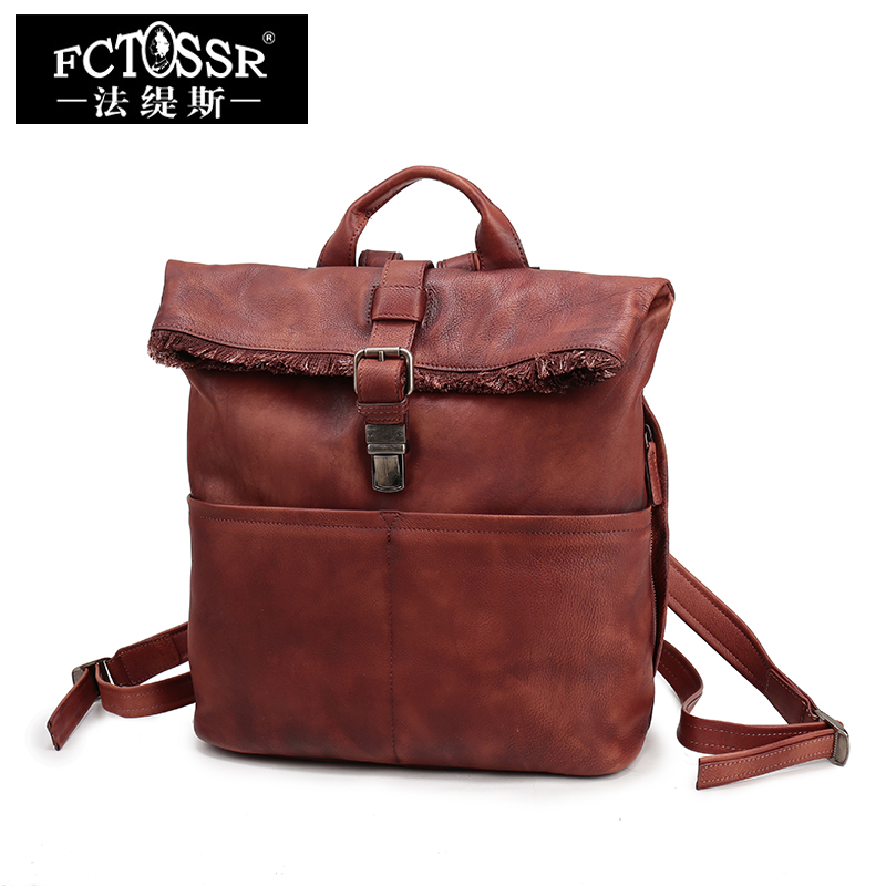 2018 New Retro Leisure Shoulder bag First Layer of Leather Women Backpack Simple Original Ppersonalized Backpack original hand made retro shoulder bag new vertical section of the small backpack head layer of leather sculpture leather casual