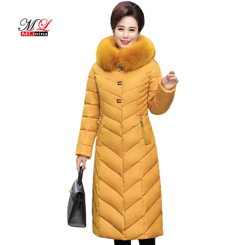MLinina New Winter Coat Women X-Long Plus Size 5XL Thick Fur Collar Winter Down Jacket Women Long Parkas Cotton Hooded Outerwear