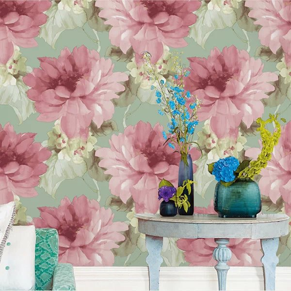 Haok Home PVC Vinyl Flower Floral Photo Wallpaper for Wall 3D Living room Bedroom Home Decoration Pink/Green Roses Art Murals home decoration 3d bathroom wallpaper retro nostalgic wood love wallpapers for living room 3d wall murals page 9