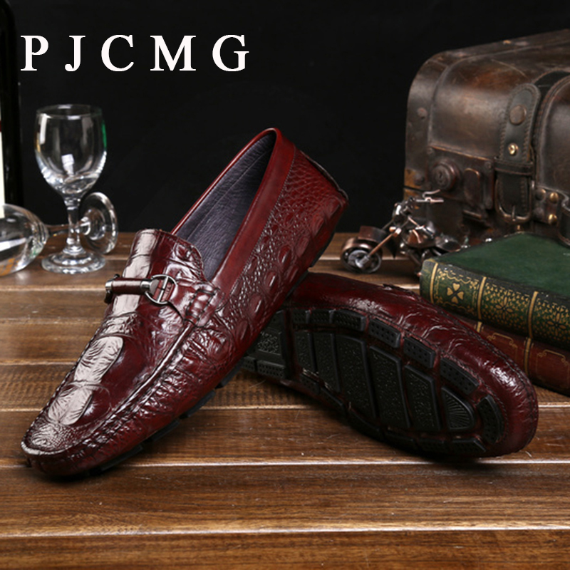 ФОТО PJCMG New Products Handmade Men's Genuine Crocodile Leather Pointed Toe Lace-Up Moccasins Driving Casual Loafer Hombre Shoes