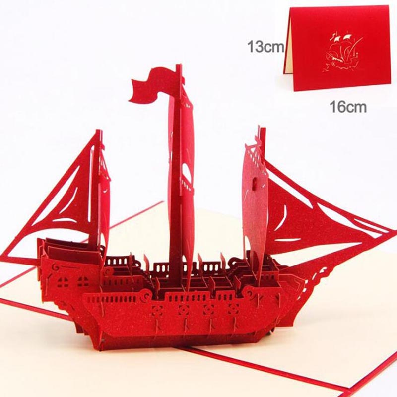 Hollowed Out Boat Creative 3D Paper Crafts Decoration Greeting Cards Paper  Laser Cut Postcard Gifts
