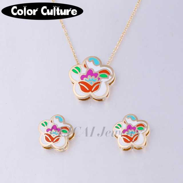 Dubai Gold color Jewellery Pendant Earring Sets for Women