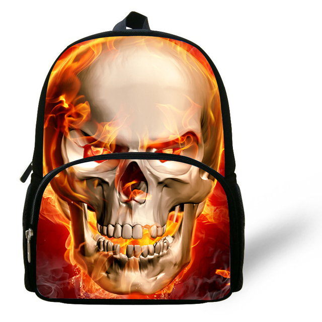 12 Inch Cool Burning Skull Head Bag Kids School Backpacks For Boys