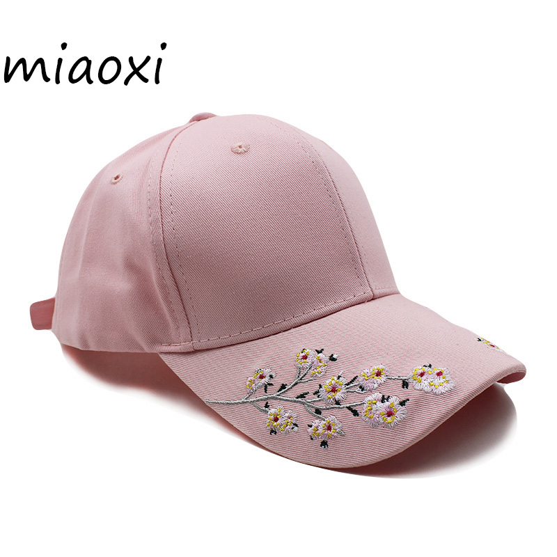 [miaoxi] Hip Hop Women Flower Hat Female Baseball Cap Summer New Style Floral Caps 3 Colors Black Women's Snapback For Girl Hats mnkncl new fashion style neymar cap brasil baseball cap hip hop cap snapback adjustable hat hip hop hats men women caps