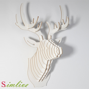 Nodic Christmas Decorations Deer Head Of Wooden Crafts For Home Decoration Wall Decor Living