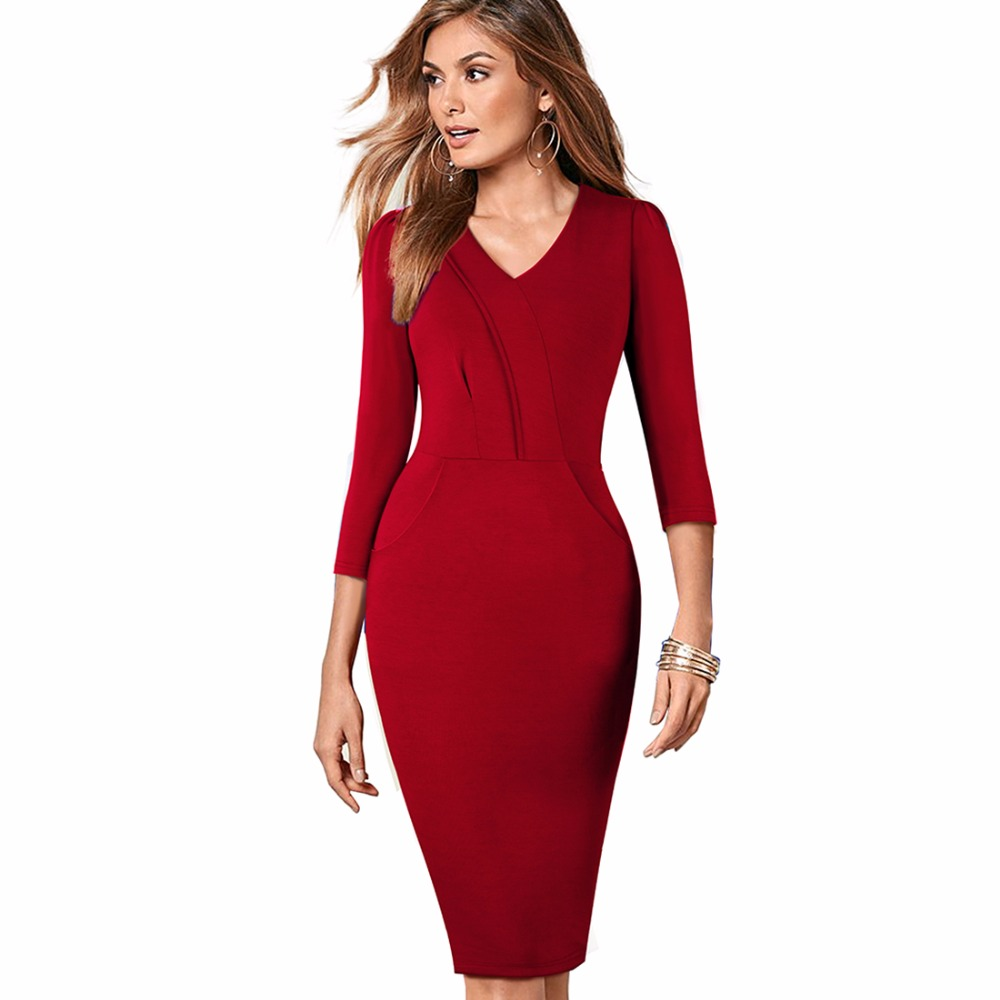 OUFANGMEIYI Store Elegant V-neck Warm Stylish Work Dress Office Female 3/4 Sleeve Sheath Women Business Bodycon Dress EB368