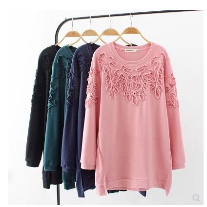 3b2a7bc1e T-shirts 2019 spring autumn 3D style long sleeve shirts women high low  simple solid color tops female t shirts plus size shirts