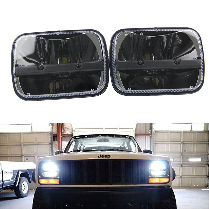 For Trucks 4x4 Offroad Jeep Cherokee XJ motorcycle 7x6 inch led headlight 5x7'' Auto Square led headlamp