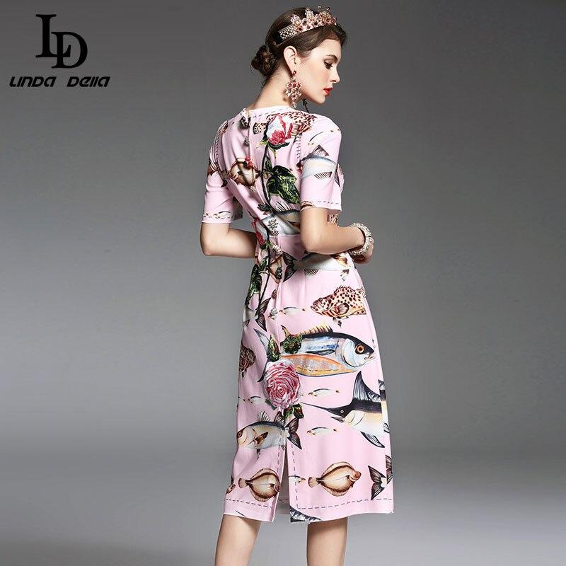 Hoge Kwaliteit Nieuwe Lente Zomer Designer Runway Vrouwen Jurk elegante Mid Calf Lengte Bloemen Borduren Gedrukt Roze Jurk-in Jurken van Dames Kleding op  Groep 3