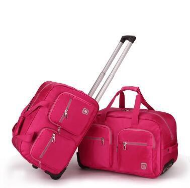 Дорожный багаж, сумки Тележки Подвижного Багажа нейлон Водонепроницаемый Путешествия колесные Сумки Багажа чемодан на колесах Путешествия Duffles Сумка