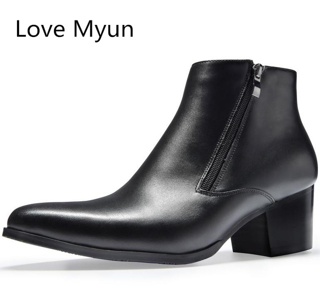 d4919106617e New fashion black pointed toe double zip mens high heels genuine leather  boots wedding shoes men