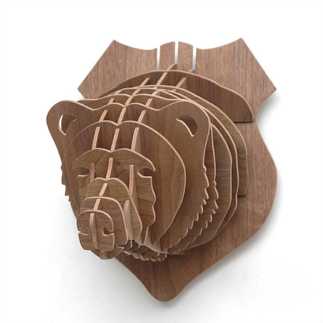Bear Head Wood Animals Wall Hanging Home Decorative Wall Decor BOT08 ...