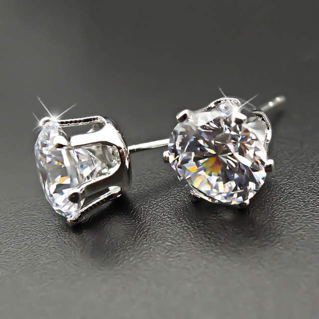 Moonso 925 Sterling Sliver 7 5mm Round 2 Carat Cubic Zirconia Stud Earrings For Women Wedding