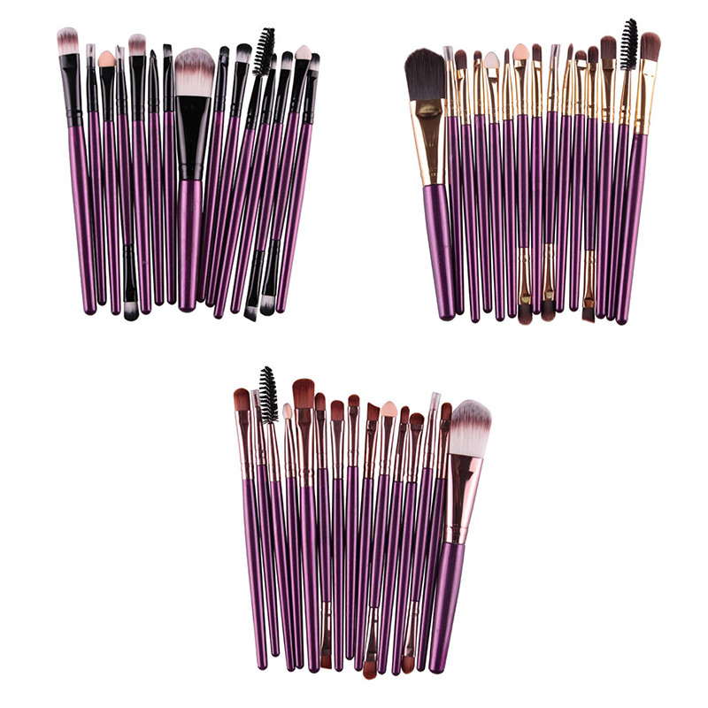 Professional 15Pcs Cosmetic Makeup Brush Women Foundation Eyeshadow Eyeliner Lip Brand Make Up Eye Brushes Set professional bullet style cosmetic make up foundation soft brush golden white