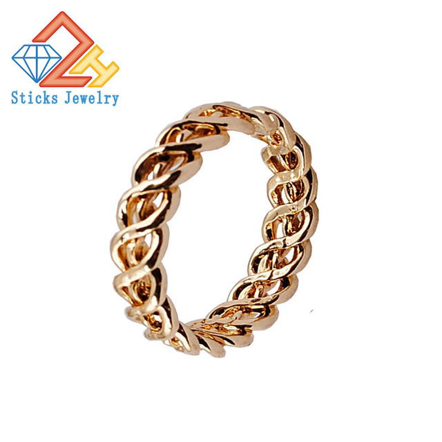 High end Fashion Fine Weave Pattern Rings KC Gold Plating Rings for