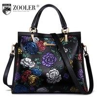 Luxury Limited Genuine Leather Bag Woman Handbags Brands 2017 Stylish Embossing Woman Shoulder Bag ZOOLER Top
