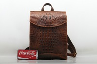 2017 New Men Alligator Embossed Backpack Genuine Leather Daypack Shool Bag High Quality Cowhide Knapsack Ladies Travel Rucksac