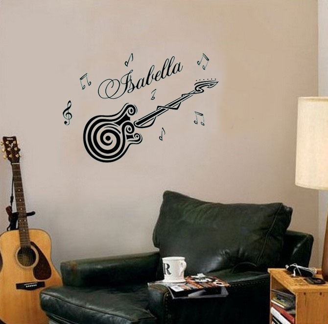 Aliexpresscom Buy Guitar Custom Personalized Name Music Wall - Guitar custom vinyl stickers