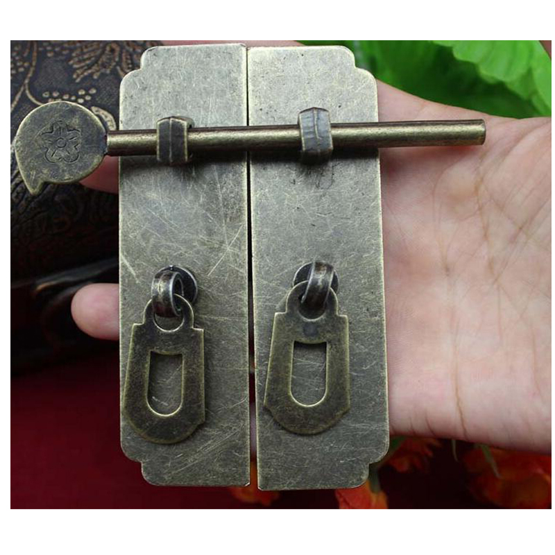 2pcs Chinese Style Furniture Hardware Iron Round Door Knocking Knocker Pull 120*58mm & Bolt Vintage Lock Catch For Cabinet 2pcs set stainless steel 90 degree self closing cabinet closet door hinges home roomfurniture hardware accessories supply